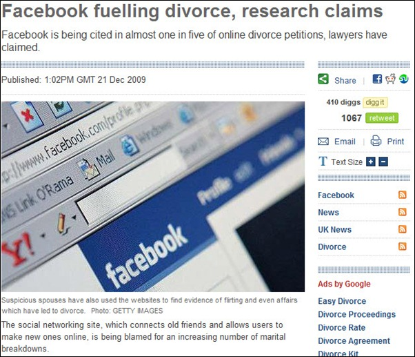 Facebook fueling Divorce