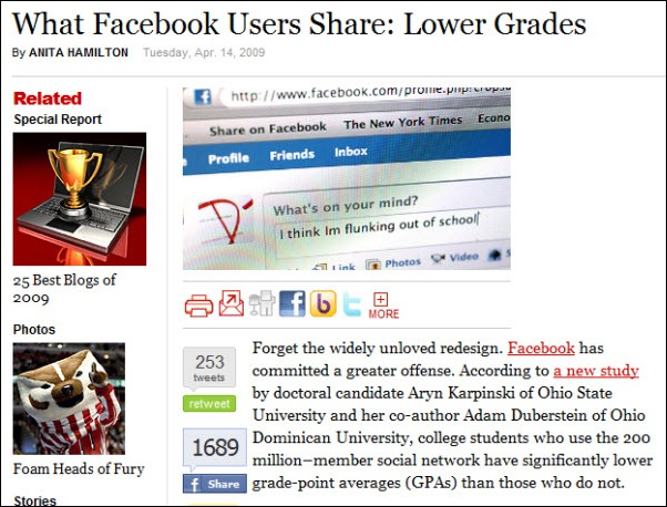 What Facebook Users Share - Lower Grades