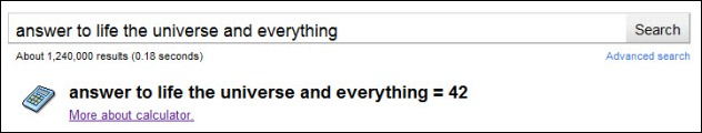 Google answer to life the universe and everything