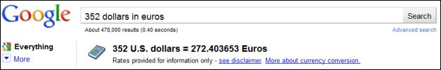 Google Convert 352 dollars in euros