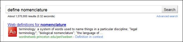 google define nomenclature