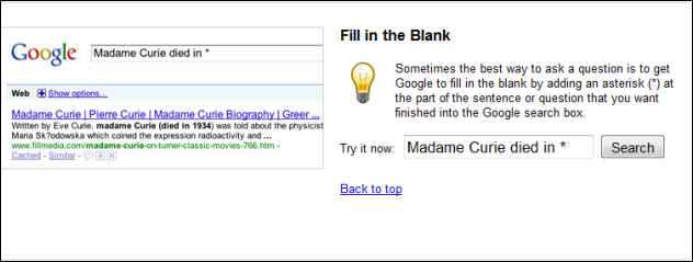 Google Fill in The Blank Explanation