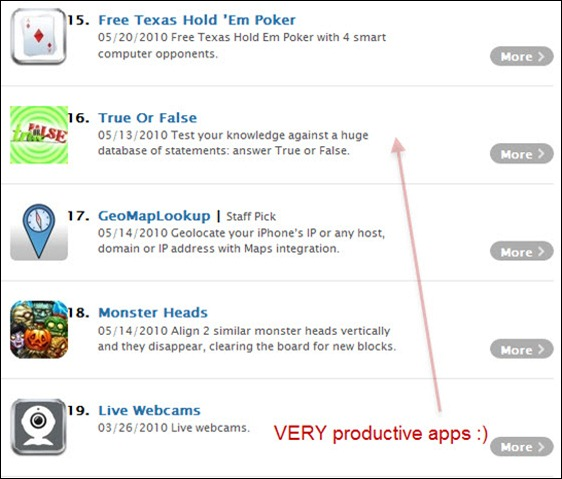 unproductive apps for iphone