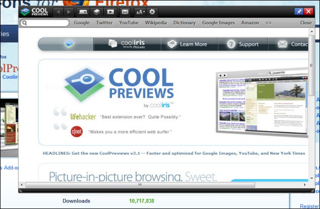 CoolPreviews Screen Appearing in Firefox